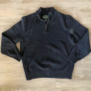 Eddie Bauer Dark Gray Quarter ZIP Sweater Mens L